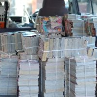 大量の本を回収