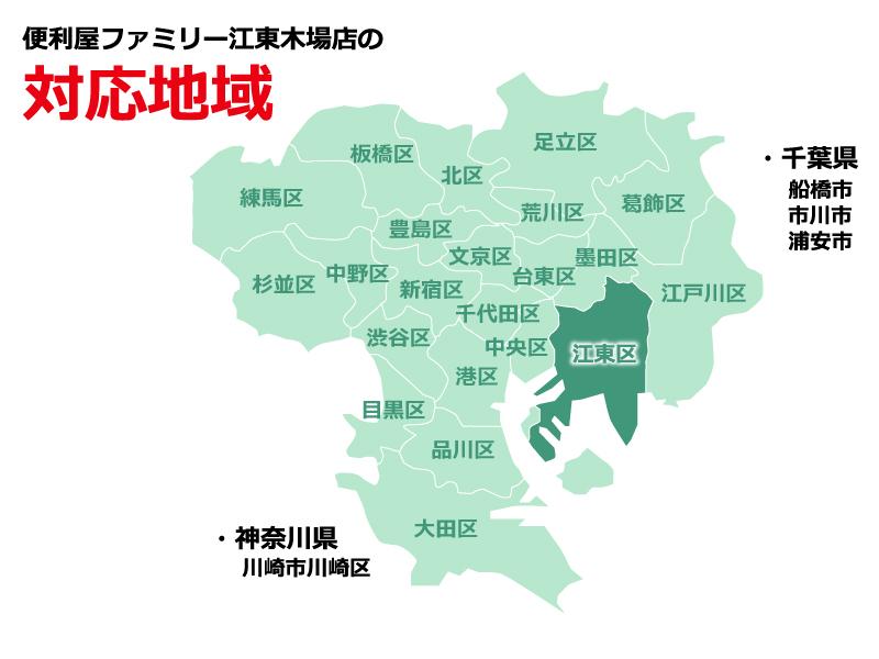 便利屋ファミリー江東木場店の対応地域